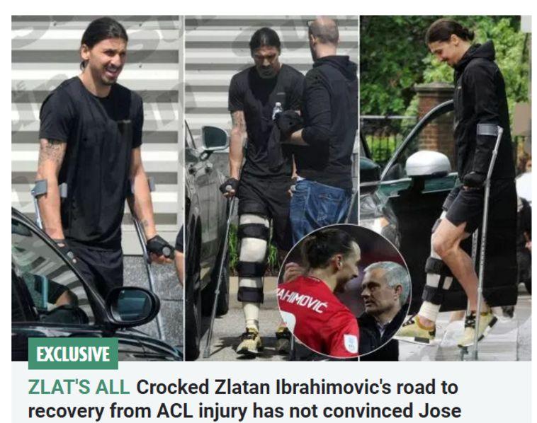 """זלאטן איברהימוביץ' על קביים. צילום מסך מתוך """"הסאן"""""""