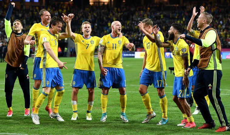 שחקני נבחרת שבדיה חוגגים (AFPׂׂׂ)