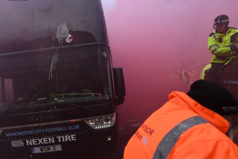 האוטובוס של סיטי בשבוע שעבר (AFP)
