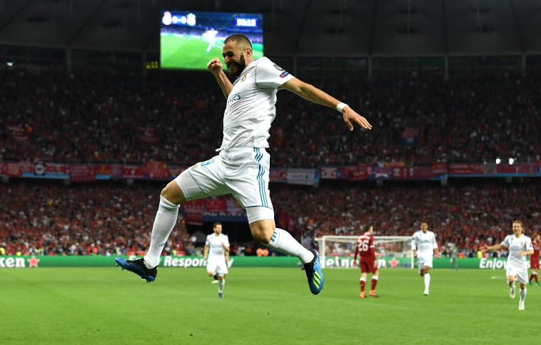 בנזמה חוגג. הצרפתי הראשון שמבקיע בגמר מאז זידאן ב-2002 (Gettyimages)
