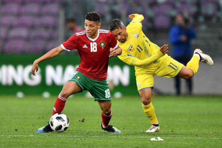 אמין האריט במדי נבחרת מרוקו (AFP)