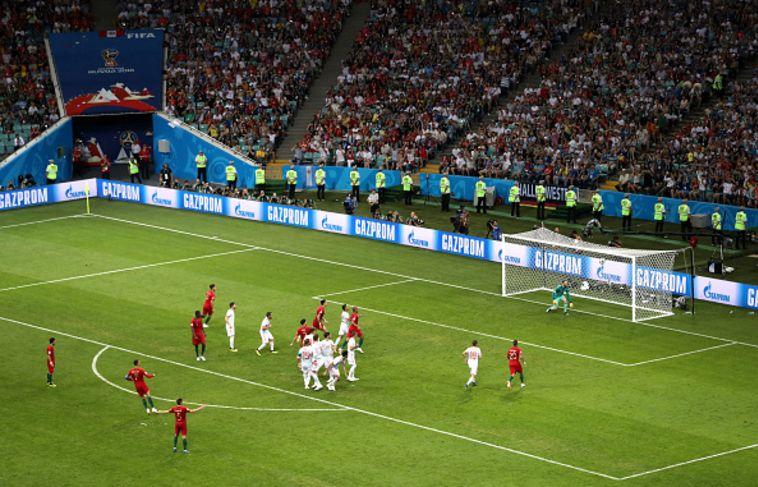 השער של רונאלדו נגד ספרד. מצב נייח דורש מיומנות (Gettyimages)