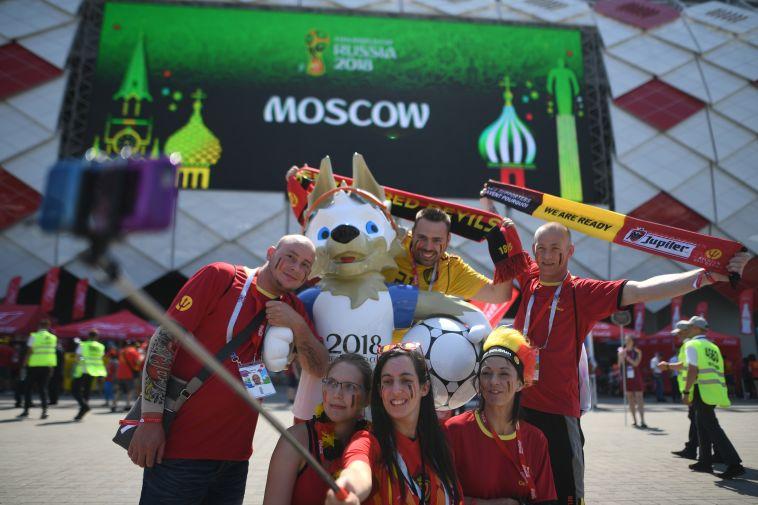 אוהדי בלגיה לפני המשחק (AFP)