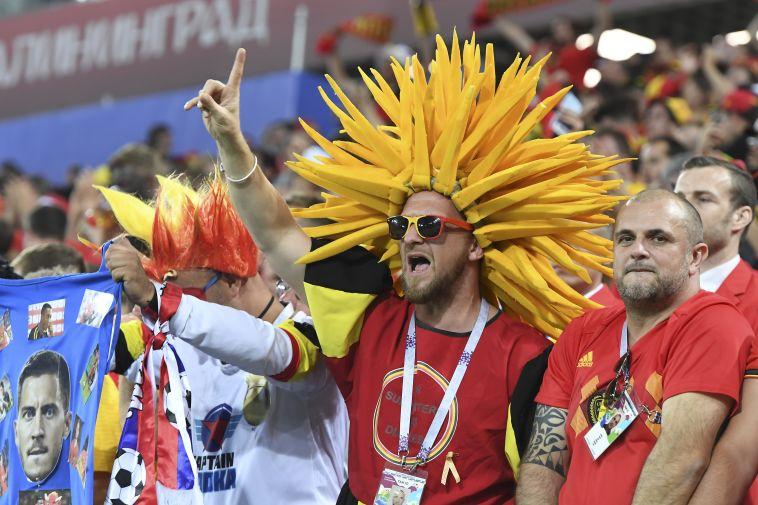 אוהדי נבחרת בלגיה. לא מסתקפים בשמינית (AFP)