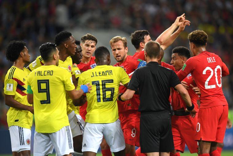 מהומה בין שחקני אנגליה וקולומביה. בינתיים יש יותר מריבות מכדורגל (Gettyimages)