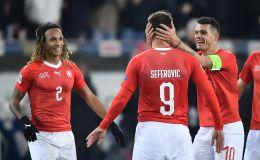 שחקני נבחרת שווייץ חוגגים