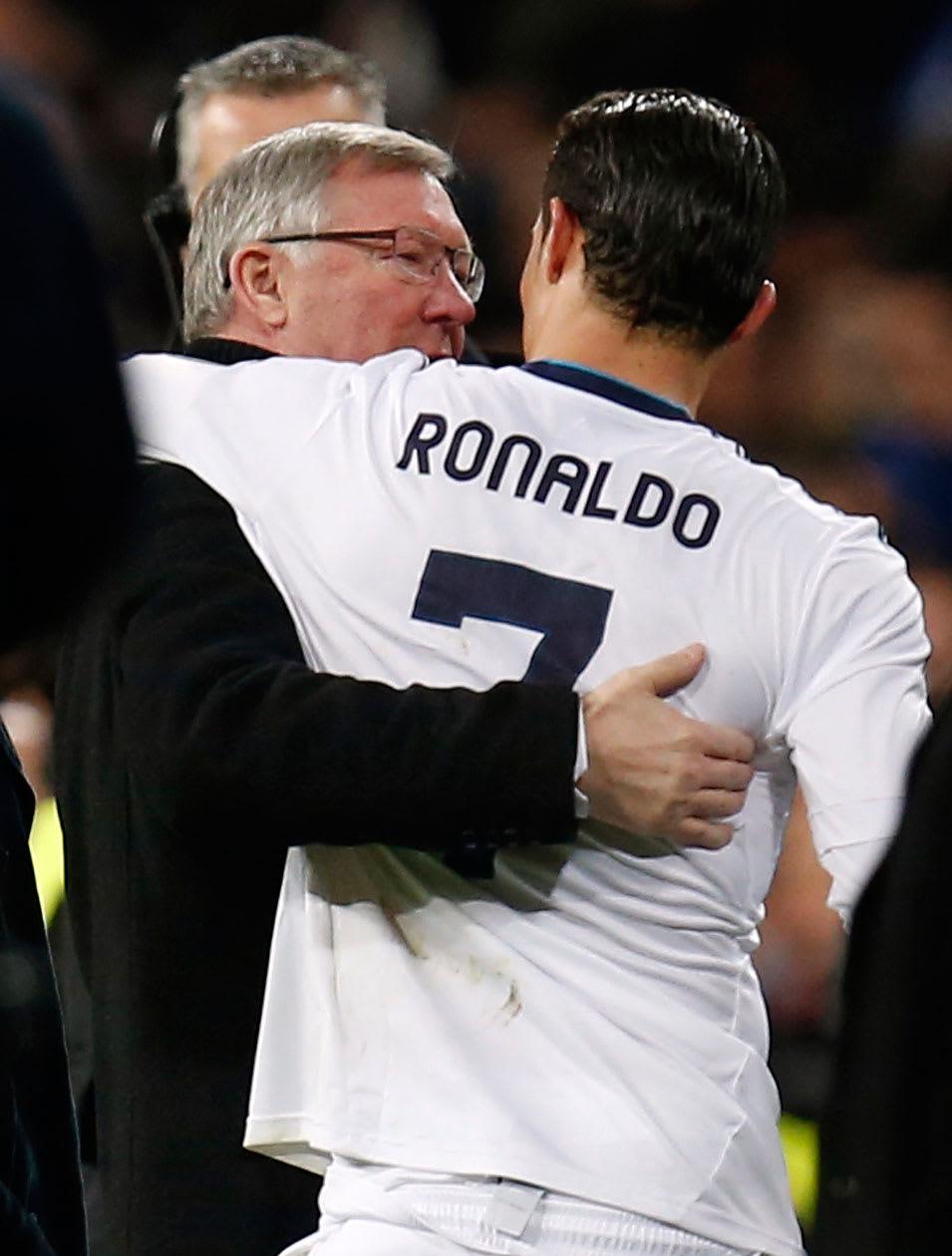 Manchester United coach Alex Ferguson with Real Madrid player Cristiano Ronaldo