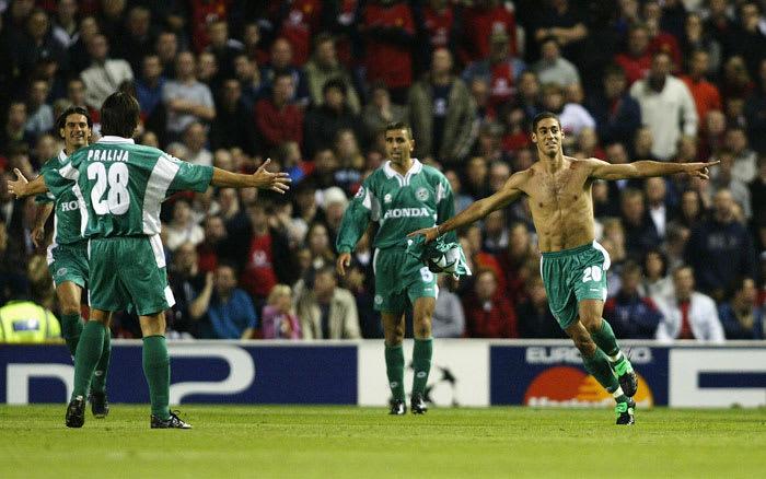 Maccabi Haifa player Yaniv Katan celebrates goal at Old Trafford against Manchester United 18.9.2002