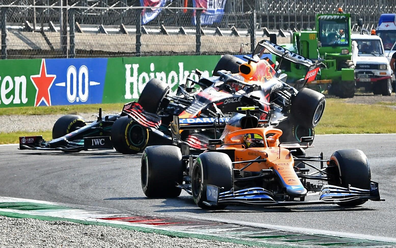 Max Verstappen's car surpasses Lewis Hamilton's Formula One car