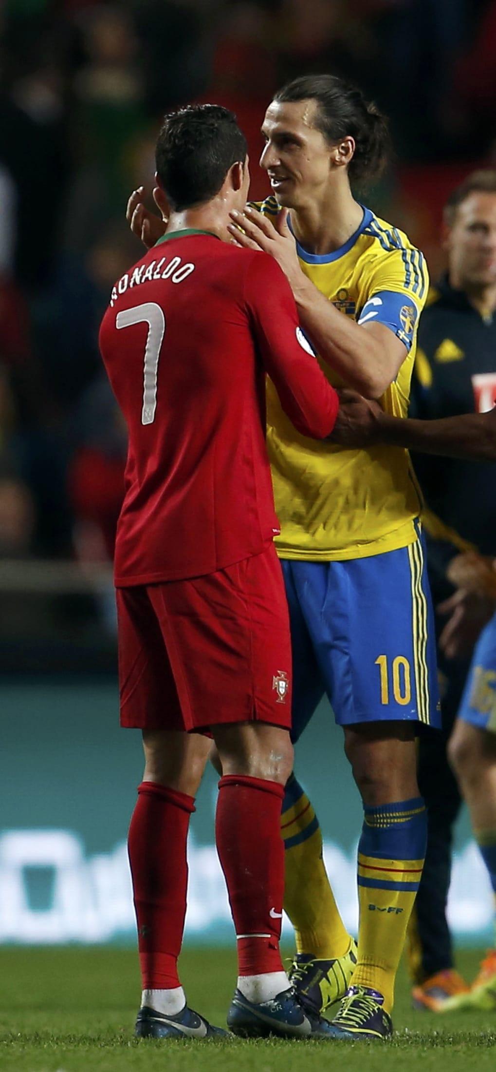 Zlatan Ibrahimovic Sweden national team player with Cristiano Ronaldo Portugal national team player