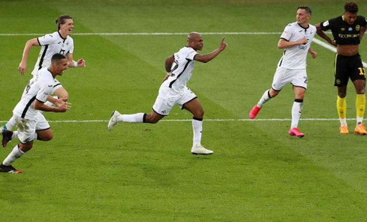 שער גדול של אנדרה איו קירב את סוונסי לגמר הפלייאוף עם 0:1 על ברנטפורד