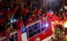 אוהדי צ'ילה חוגגים ברחבות צילום(צילום: AFP)