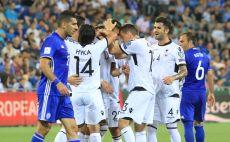נבחרת אלבניה חוגגת מול ישראל צילום(צילום: ערן לוף)