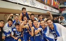 שחקני נבחרת הנוער חוגגים צילום(איגוד הכדורסל)