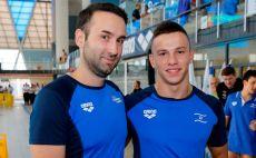 מיכאל לייטרובסקי ומאמן הנבחרת לוקה גברילו צילום(גיא יחיאלי, איגוד השחייה בישראל)