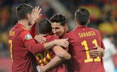 שחקני נבחרת ספרד חוגגים צילום(CRISTINA QUICLER/AFP via Getty Images)