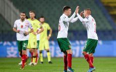 שחקני נבחרת בולגריה חוגגים צילום(NIKOLAY DOYCHINOV/AFP via Getty Images)
