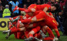 שחקני נבחרת וויילס חוגגים צילום(PAUL ELLIS/AFP via Getty Images)