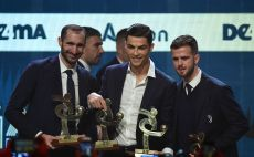 כריסטיאנו רונאלדו , מירלם פיאניץ' , ג'ורג'יו קייליני צילום(MIGUEL MEDINA/AFP via Getty Images)