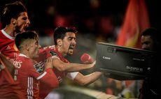 אנדרה אלמיידה ושחקני בנפיקה צילום(PATRICIA DE MELO MOREIRA/AFP via Getty Images)