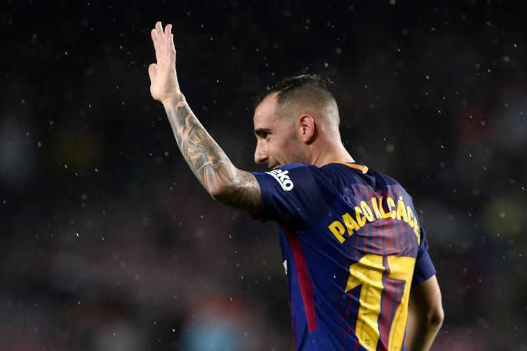 יפגוש את האקסית בליגת האלופות. אלקאסר במדי ברצלונה. (AFP)