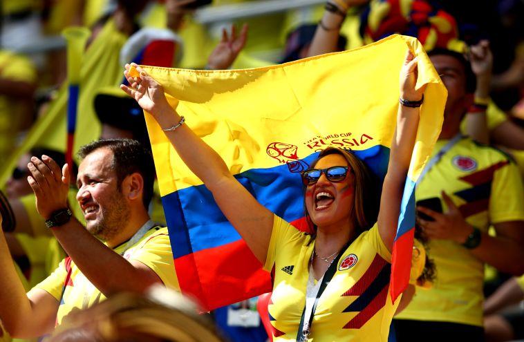 אוהדי נבחרת קולומביה. יחגגו כמו לפני ארבע שנים? (Gettyimages)