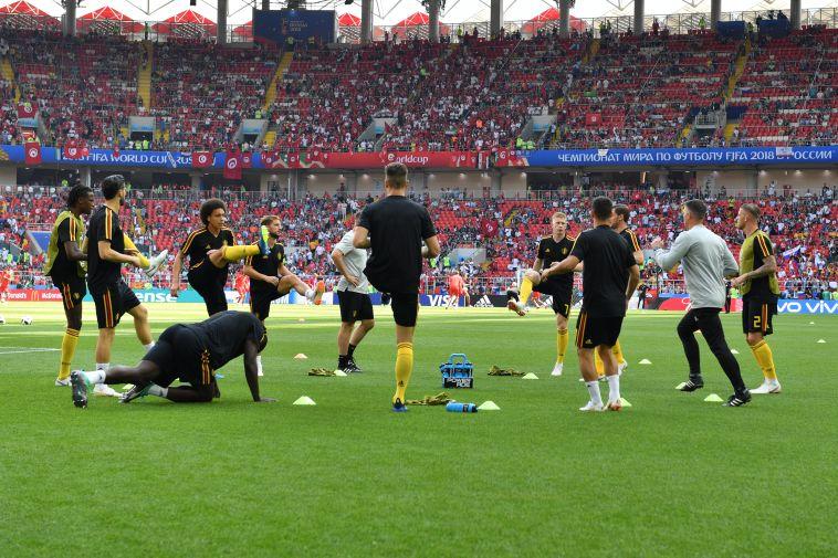 החימום של נבחרת בלגיה (AFP)
