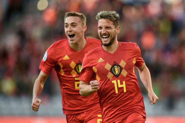 שחקני נבחרת בלגיה חוגגים. הבית הקל ביותר שאפשר לבקש (JOHN THYS/AFP/Getty Images)