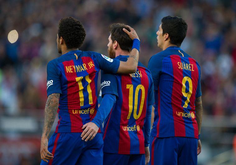 האיחוד קרוב? ניימאר עם מסי וסוארס בברצלונה. (Denis Doyle/Getty Images)