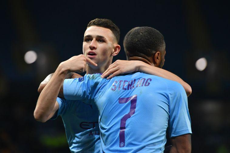 סטרלינג ופודן. הפעם האחרונה ששניהם כבשו באותו משחק היתה במרץ (ANTHONY DEVLIN/AFP via Getty Images)