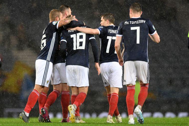 שחקני נבחרת סקוטלנד. באיזה כושר יגיעו למשחק נגד ישראל? (ANDY BUCHANAN/AFP via Getty Images)