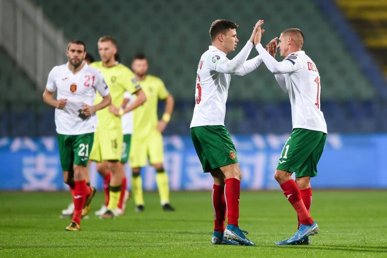 חבל שלא היו אוהדים. שחקני בולגריה חוגגים (NIKOLAY DOYCHINOV/AFP via Getty Images)