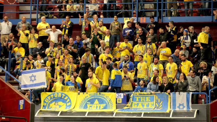 הקהל הצהוב שעשה את הדרך למילאנו (מכבי תל אביב, האתר הרשמי)