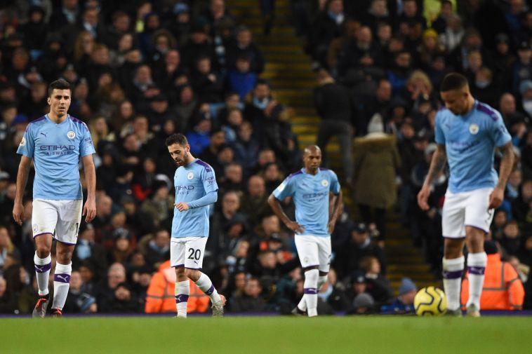 הם לא ראו את זה מגיע. שחקני מנצ'סטר סיטי מאוכזבים (OLI SCARFF/AFP via Getty Images)