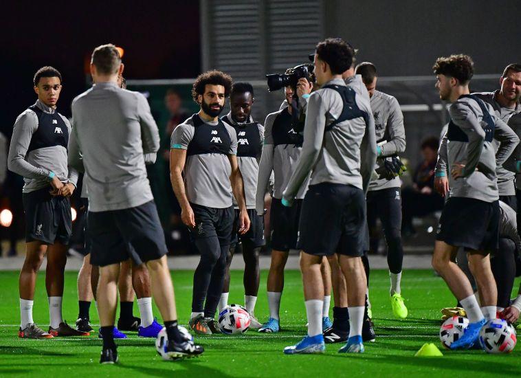 רוצים לזכות בגביע העולם לראשונה. שחקני ליברפול באימון (GIUSEPPE CACACE/AFP via Getty Images)