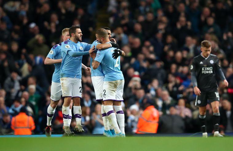ניצחון שני רצוף. שחקני מנצ'סטר סיטי חוגגים (Clive Brunskill/Getty Images)