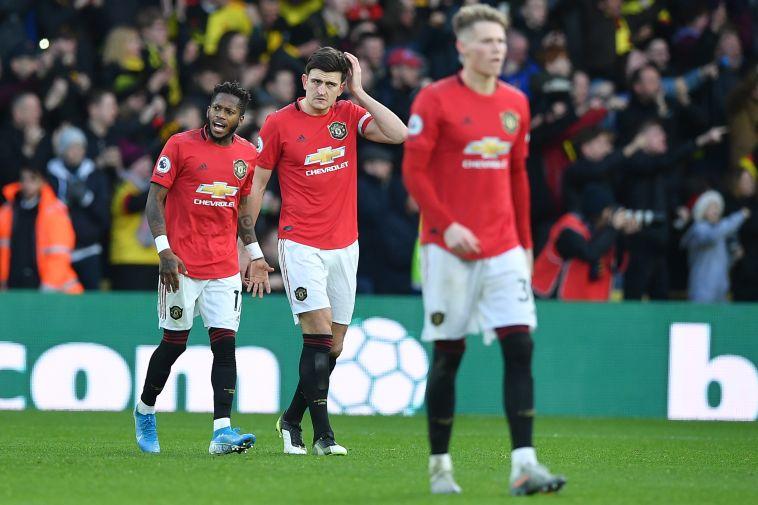שחקני מנצ'סטר יונייטד מאוכזבים. לא ציפו להפסיד מול האחרונה הליגה (DANIEL LEAL-OLIVAS/AFP via Getty Images)