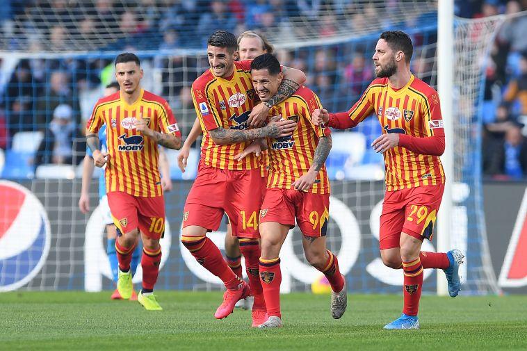ניצחון חשוב במאבקי התחתית. שחקני לצ'ה חוגגים (Francesco Pecoraro/Getty Images)