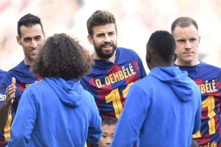 שחקני ברצלונה הביעו תמיכה בעוסמאן דמבלה (JOSEP LAGO/AFP via Getty Images)